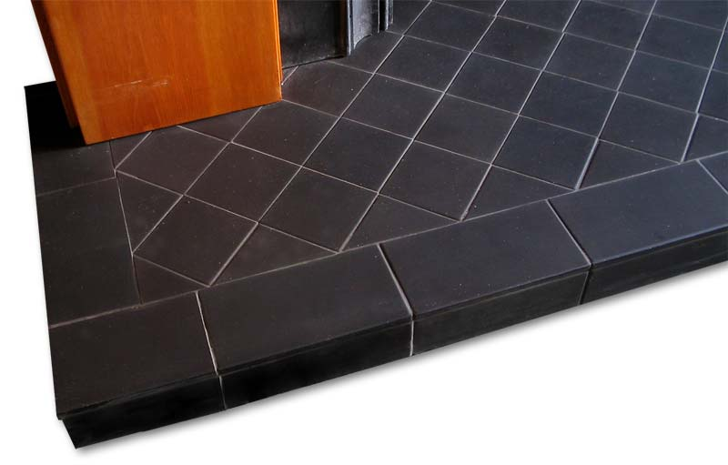All black diamond pattern hearth