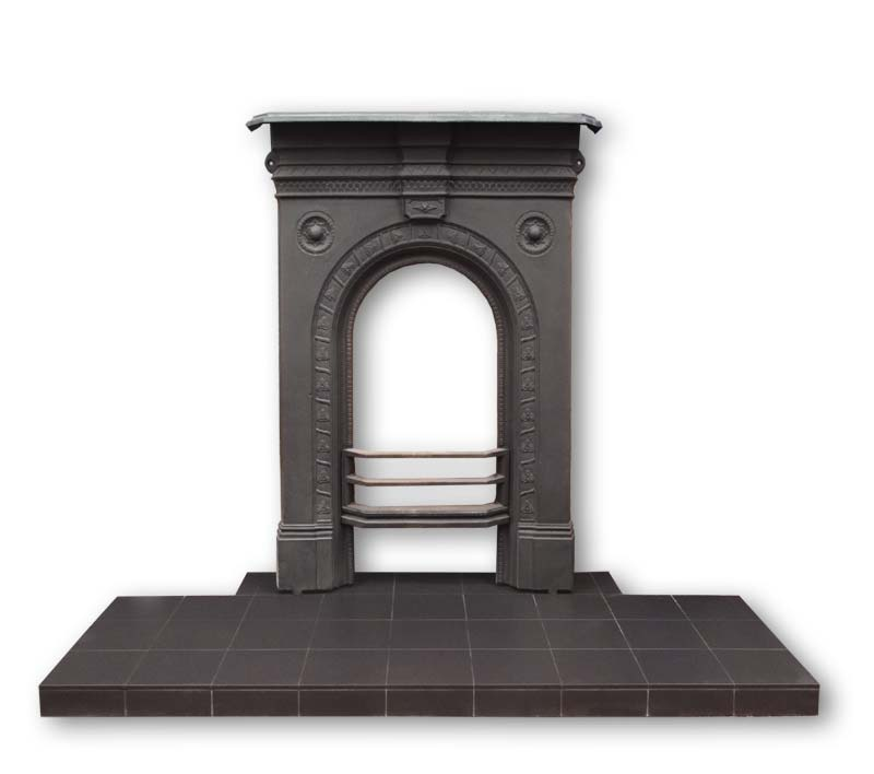 Small hearth for cast iron bedroom fireplace