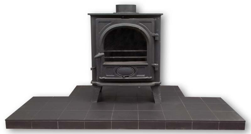 Quarry tile hearth for a stove