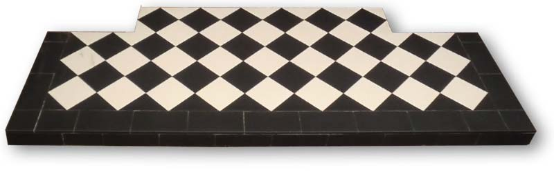 Black and white diamond pattern hearth