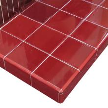 Hearth in 4 inch square Burgundy tiles