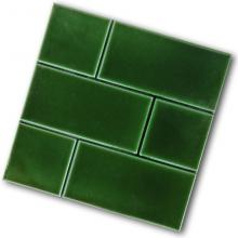 6 inch square brick effect tile green